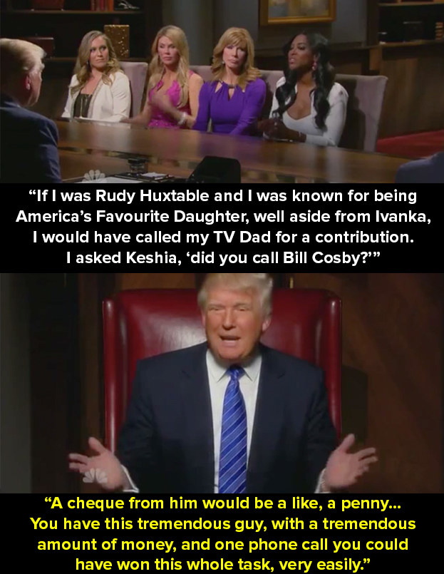 Then later in the boardroom, one of the celebrity contestants, Keshia Knight Pulliam, is blamed by Trump and the other contestants for not calling Bill Cosby for a donation for that week's challenge.