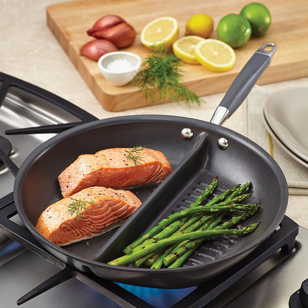 A two-in-one grill and griddle pan, so you can cut corners and cook two parts of the meal at once while keeping them separate.