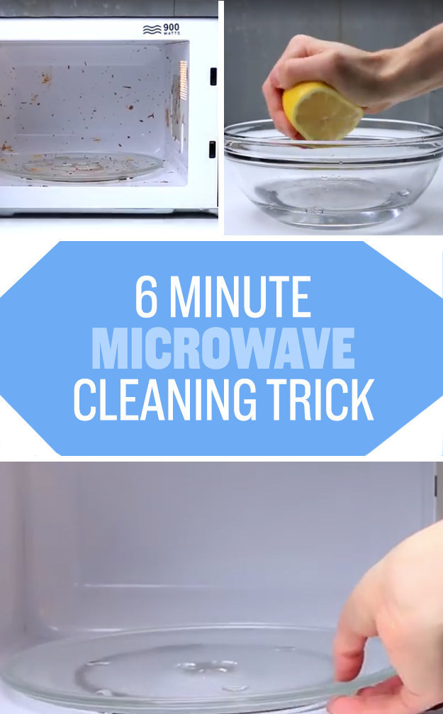A graphic of several images showing the dirty microwave, a lemon squeezed in a bowl, and the clean microwave