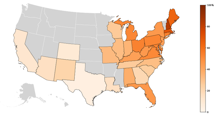 In grayed states, medical examiners reported fewer than 20 deaths that involved both cocaine and fentanyl. The CDC suppresses rates in these states for accuracy and privacy issues.
