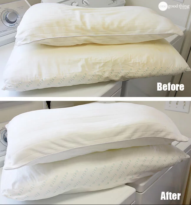 A blogger's before/after of yellowed pillows before, and clean, white pillows after
