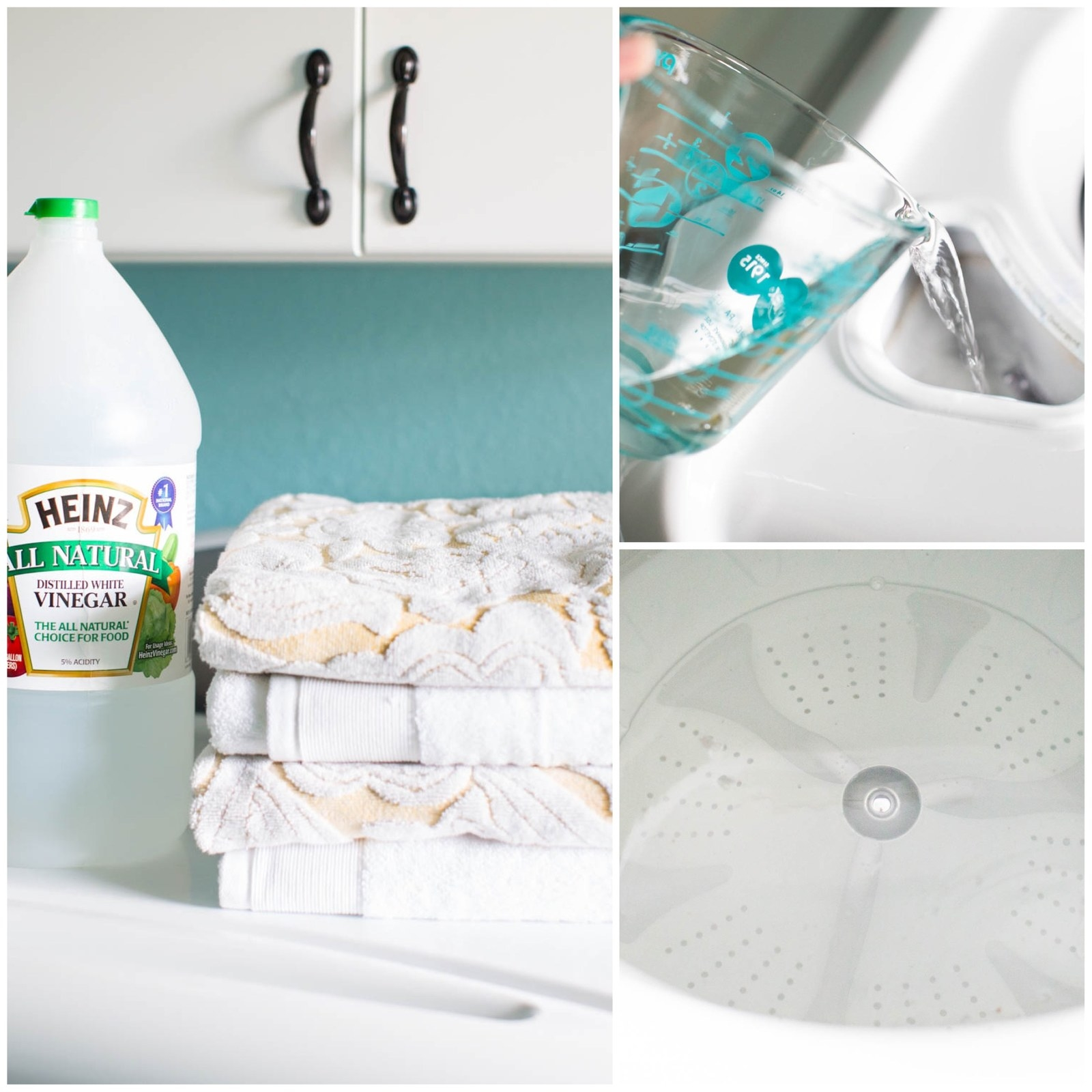 A collage showing the process of running vinegar through the machine (right in the detergent holder)