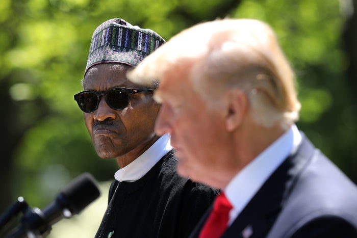 Nigerian President Muhammadu Buhari and President Trump during their joint press conference in the Rose Garden.