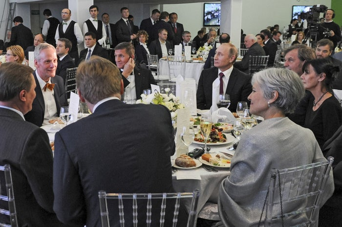 Stein sits with Russian President Vladimir Putin, Michael Flynn, and others at an event marking the 10th anniversary of RT's 24-hour English-language TV news channel in Moscow on Dec. 10, 2015.
