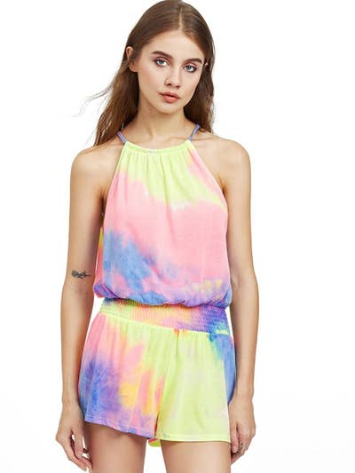 c83a96a6a2a8 A lightweight tie-dye romper complete with bright
