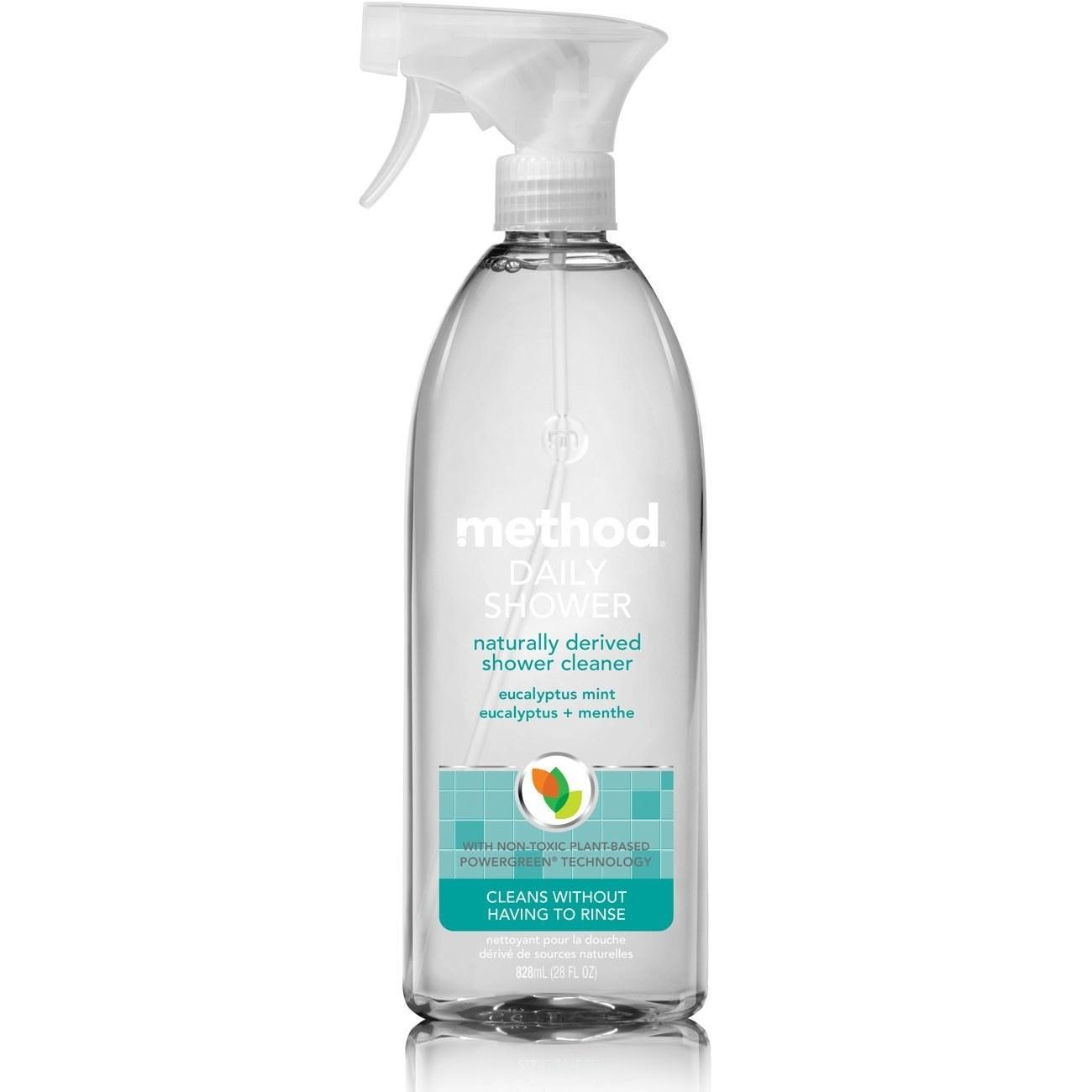 The bottle of eucalyptus mint cleaner