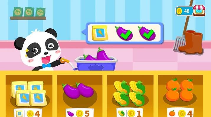 A screenshot from BabyPanda's Farm, a BabyBus app.