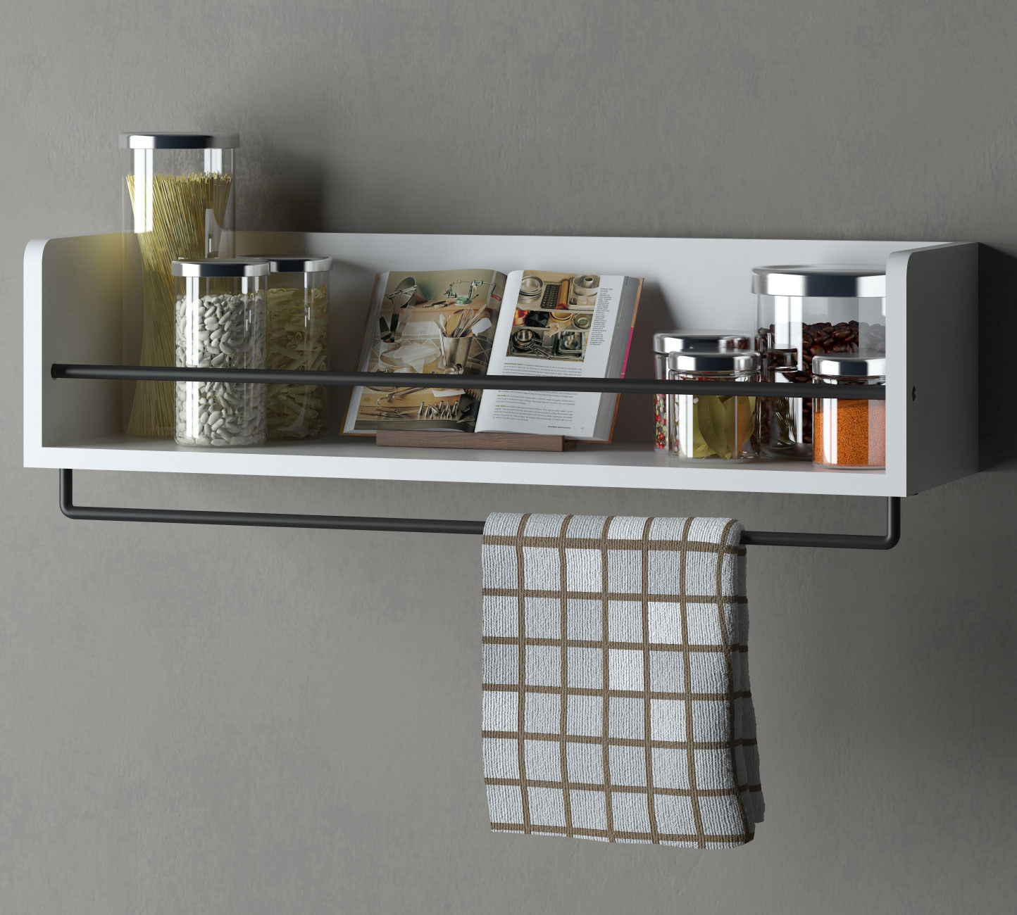 white shelf with black metal bar across it and another below it for a hand towel