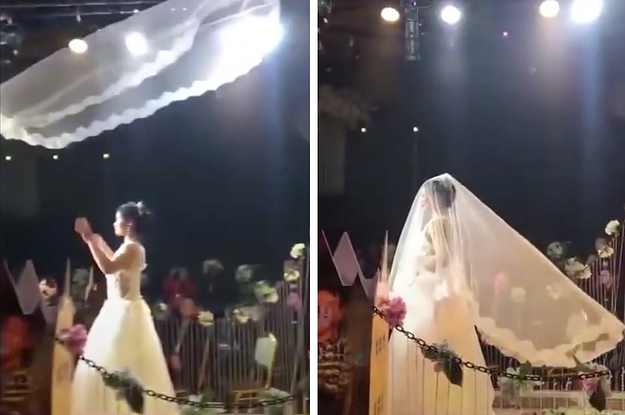People Think The Latest Chinese Wedding Trend Involving Flying Veils Is Extremely Extra