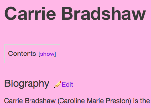 And then I checked the Sex And The City wiki page, which gave me the same information, but on a pink background.