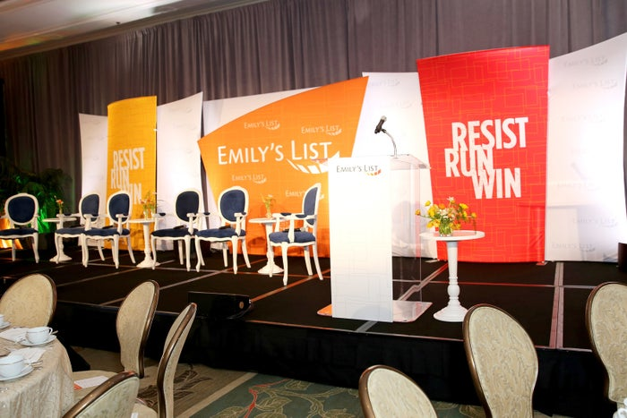 The stage at EMILY's List's pre-Oscars brunch on Feb. 27 in Los Angeles.
