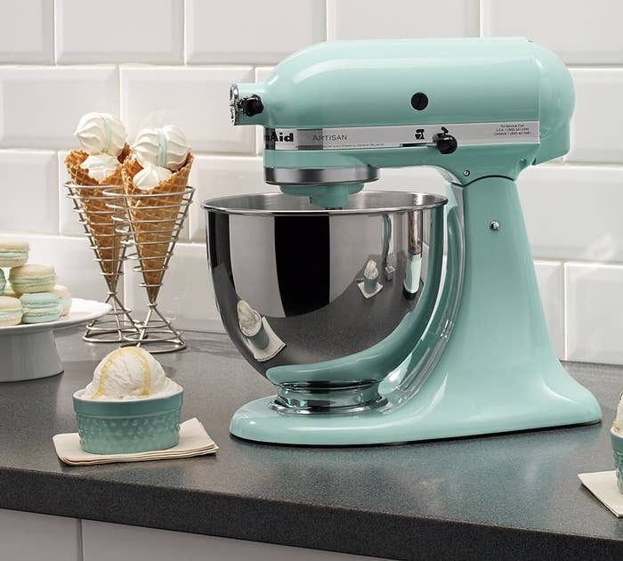 """This 10-speed mixer has a five-quart stainless steel mixing bowl. It comes with a two-piece pouring shield with a large chute for adding ingredients as well as a flat beater, a dough hook, and a wire whip!Promising review: """"What can I say? Having had our Kitchenaid for 25 years, I am impressed with the durability of the product. This was purchased as a Christmas gift for my son and daughter-in-law. Construction appears as solid on this one as on my 25-year-old Kitchenaid. Considering how much abuse ours has taken in a heavy-use household, I wouldn't consider any other option. Pizza and bread dough is a breeze, as is pretty much anything else you throw at it. And the design still reminds me of the head of the creature in the movie Alien for added coolness."""" —Steve RJGet it from Amazon for $259.99 (available in 45 colors)."""