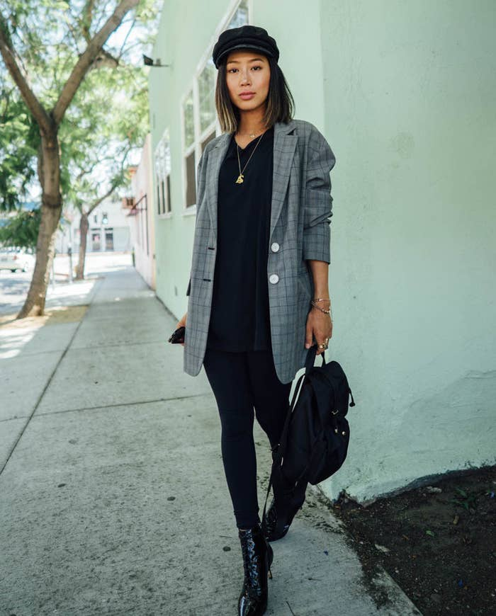 57bd809a44a Win the best of both worlds and still live in your favorite leggings — but  this time pair them with an oversized blazer to transform your bottoms from  lazy ...