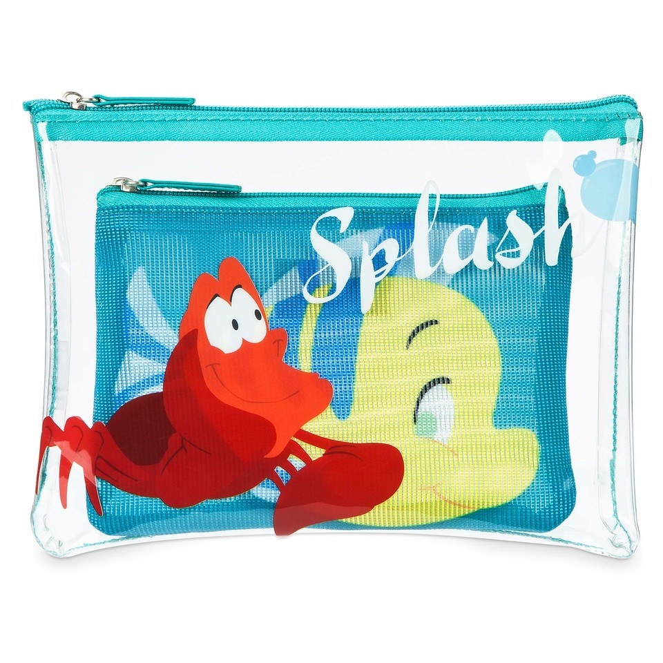 Oh My Disney Store Ariel Tote Bag and The Little Mermaid Pouch SET NEW Flounder