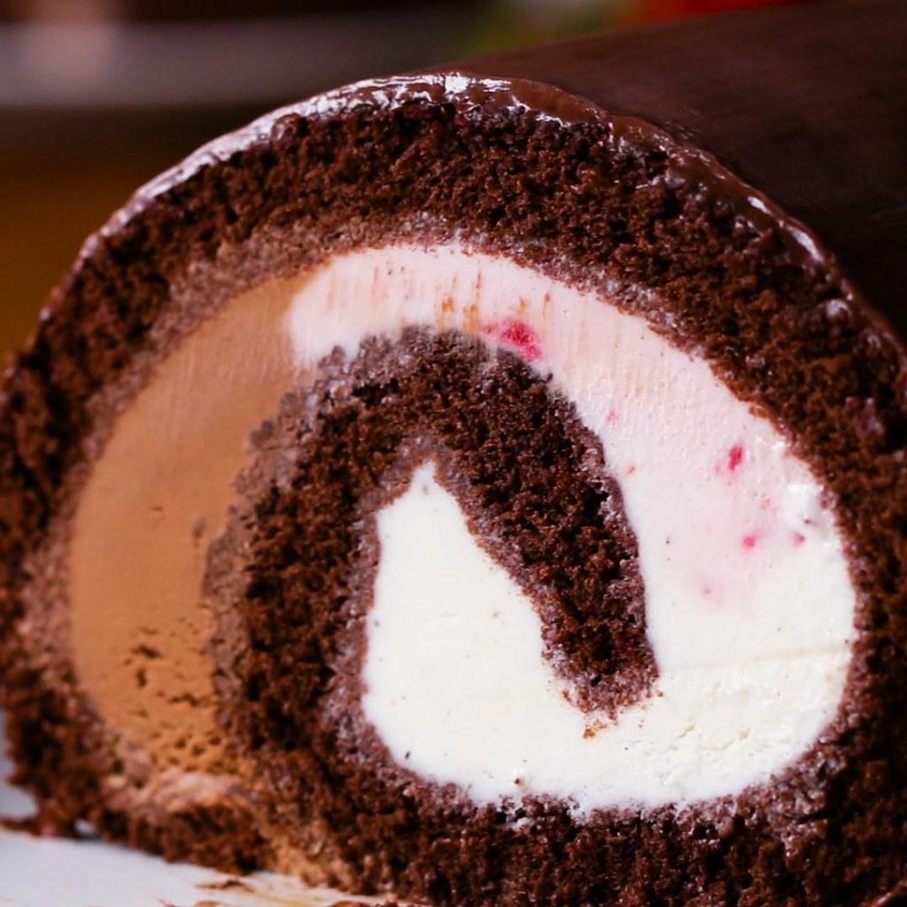 3色アイスで♪ ロール・アイスケーキ