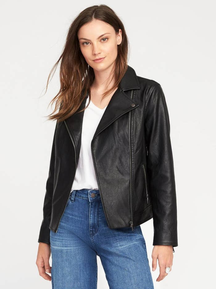 4b54619f8f1 Top off your outfits with an inexpensive faux leather jacket for the  ultimate cool look (that will never go out of style). A bit of leather is  foolproof for ...