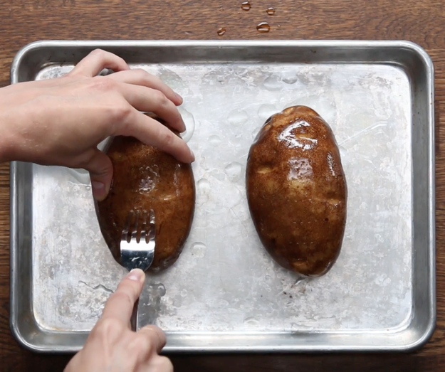 When oven-baking whole potatoes, prick them a few times with a fork first.