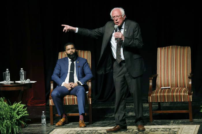 Jackson Mayor Chokwe Antar Lumumba onstage with Sanders Wednesday night.