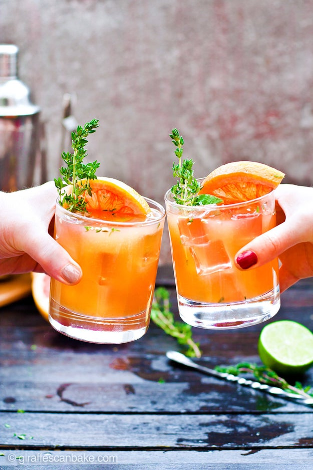 Grapefruit and Thyme Bourbon Smash