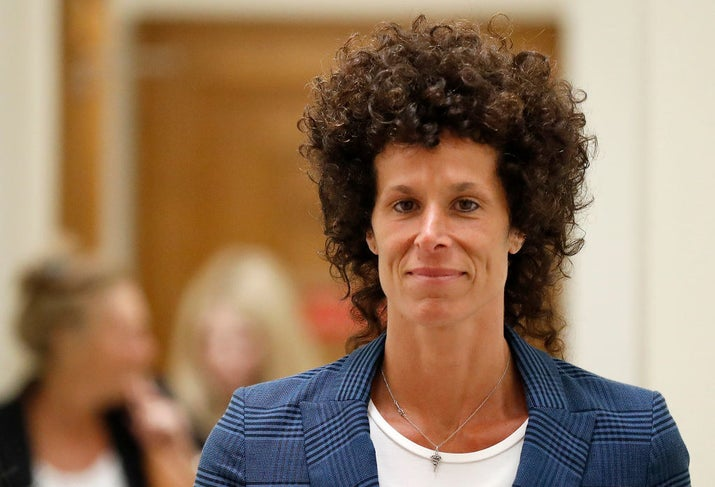 Andrea Constand leaves the courtroom after closing arguments in Bill Cosby's 2017 trial in Pennsylvania.