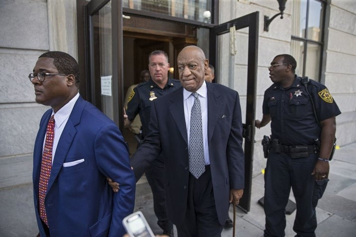 Bill Cosby leaves the courthouse in 2017 after attending a court hearing pertaining to his new trial.
