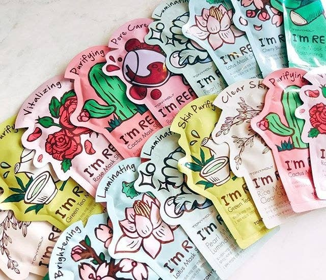 """Get a pack of three """"Tomato"""" masks for $8.50, three """"Lemon"""" for $8.50, or singles of """"Tea Tree"""" for $3, """"Red Wine"""" for $7.20 or get a full-variety set of 11 for $17.50."""