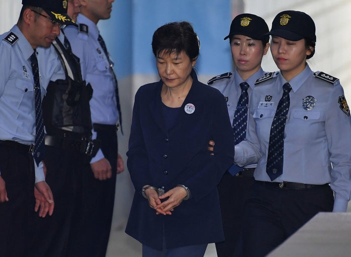 Park Geun-hye arriving at court last May. She has not appeared in court since October.
