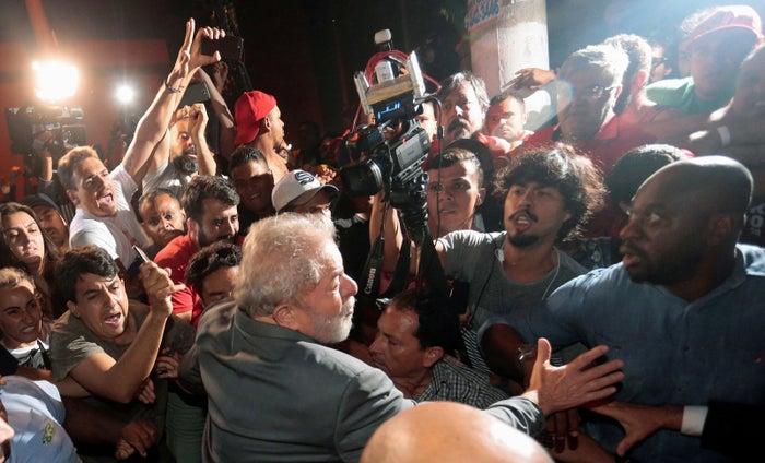 Former Brazilian president Luiz Inácio Lula da Silva leaves the steelworkers union, in Sao Bernardo do Campo, Brazil.
