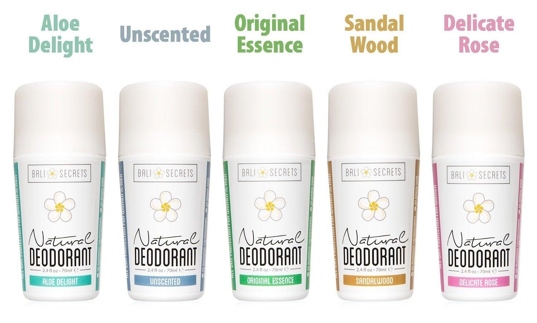 five bottles of deodorant in different scents