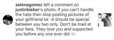 When Selena Gomez left this comment on Justin Bieber's Instagram, where he asked people to stop hating on his new girlfriend: