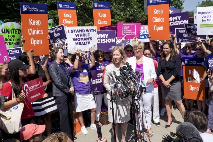 Nancy Northup, president of the Center for Reproductive Rights, speaks to the media outside of the US Supreme Court in 2016 in Washington, DC, following the Whole Woman's Health v. Hellerstedt decision.