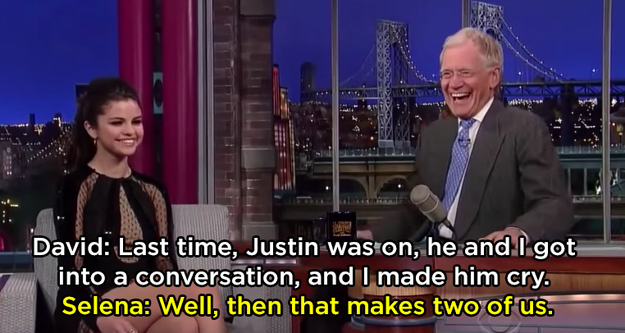 And when she shaded him on Letterman: