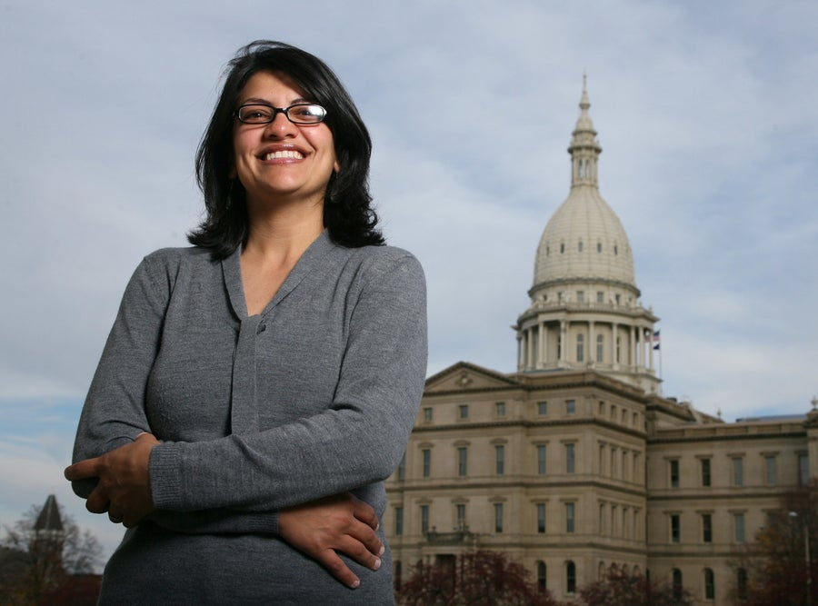 Rashida Tlaib outside the Michigan Capitol in 2008.