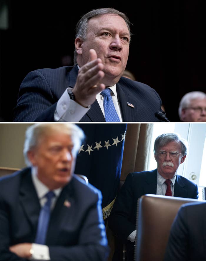 Secretary of state nominee Mike Pompeo; national security adviser John Bolton at a cabinet meeting.