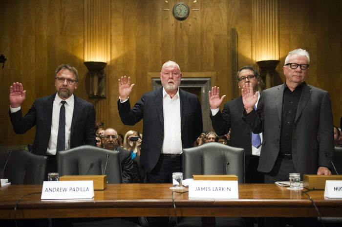 From left: backpage.com CEO Carl Ferrer, former owner James Larkin, COO Andrew Padilla, and former owner Michael Lacey are sworn in on Capitol Hill in Washington, prior to testifying before the Senate Committee on Homeland Security and Governmental Affairs hearing in 2017.