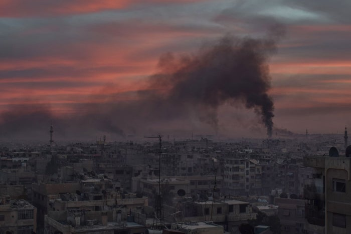 Smoke rises after the Assad regime carried out an airstrike in the Damascus suburb of Douma, Syria, on April 7, 2018.
