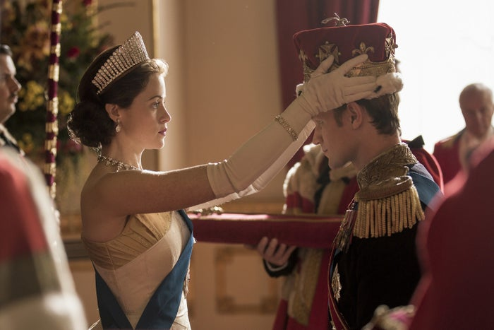 A scene from The Crown with Claire Foy as Queen Elizabeth and Matt Smith as Prince Philip.