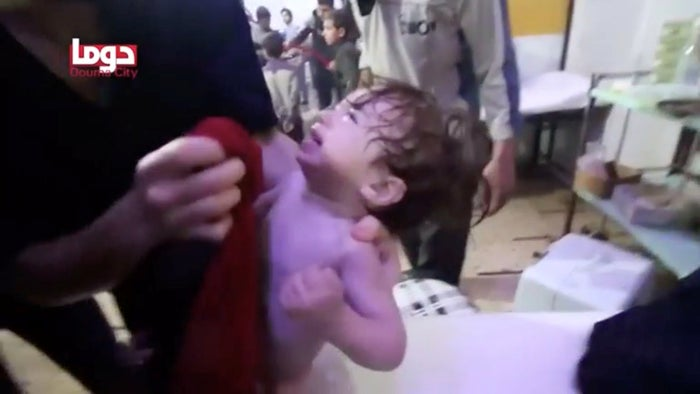 The Syrian government denied allegations that a poison gas was dropped on the area, contradicting reports from medics, activists, rescue workers, and leaders of Western nations.Images circulating on social media showed the lifeless bodies of men, women, children, and infants foaming at the mouth — a telltale sign of a gas attack. The footage could not be independently confirmed.