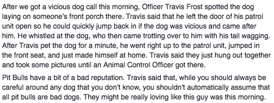 According to the police department's Facebook post, Officer Travis Frost spotted the presumed pit bull mix sitting on someone's front porch. Anticipating that the dog may charge and attack, Officer Frost left his car door open so he could jump back in if need be. But instead, the ~vicious animal~ trotted up to him, tail wagging, and saw the open car door as an invitation for the sits.