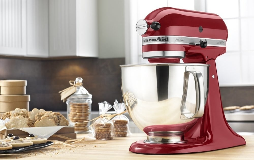 """This stand mixer has 10 different speeds from very slow stir all the way to very fast whip to meet all your prepping needs. It comes with a flat beater, a dough hook, and a wire whip. It features a 5 qt. stainless-steel bowl, a head tilt back for easier access, and a two-piece pouring shield. And in case you need any more convincing, check out why it will be the best thing in your kitchen since sliced bread.Promising review: """"Bought this for my wife for Mother's Day and she loves it. The color is exactly as pictured. She has used it nearly every day for the last few months without a single issue."""" —Garren AllredGet it from Amazon for $259 (originally $429.99, available in 45 colors)."""
