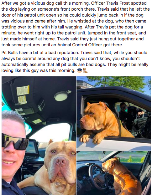 "A couple days ago, a police officer in Texarkana, Texas, responded to a call about a ""vicious"" dog running loose in a neighborhood."