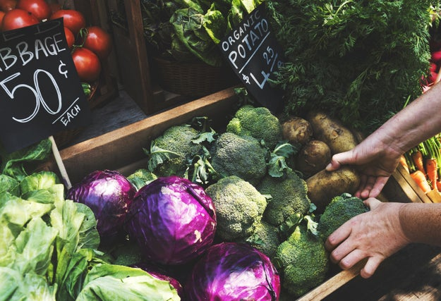 Save money on produce by shopping at your local farmer's market.
