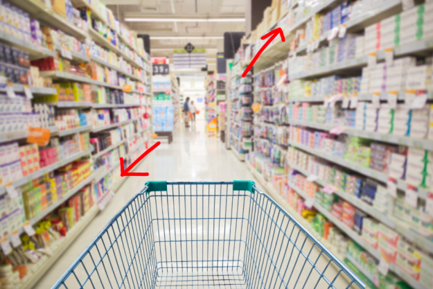 Look for generic and store brands above and below eye level in the grocery aisles. That's where they hide the cheaper stuff 👀.