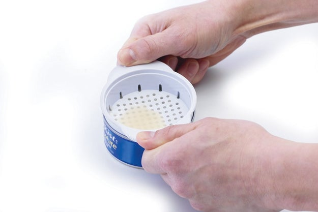 A can colander, the answer to your tuna- and canned-goods-related cries for help.