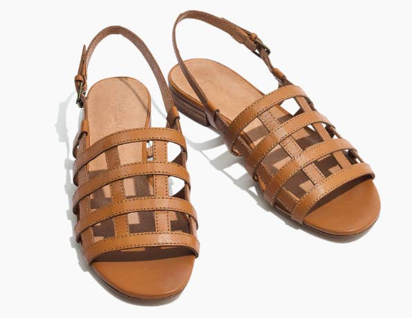 28a4b0cfa2b8 Leather cage slingback sandals with an extra layer of padding for giving  your feet the plush treatment they deserve.