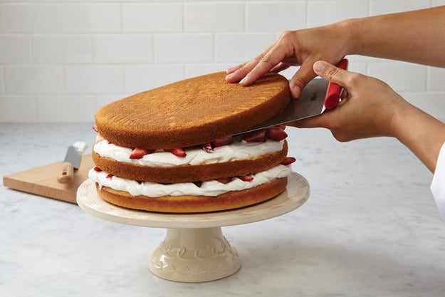 Use a cake lifter to move large rounds of cake around without worrying they'll accidentally crack.