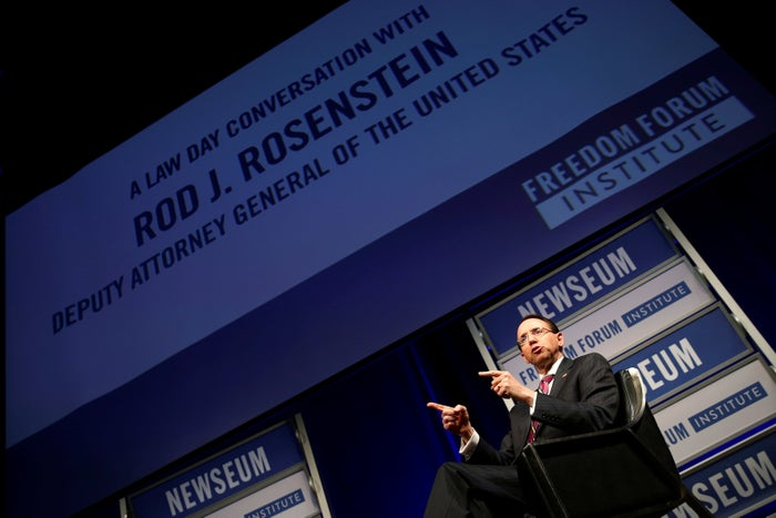 Deputy Attorney General Rod Rosenstein participates in a Law Day event on May 1.