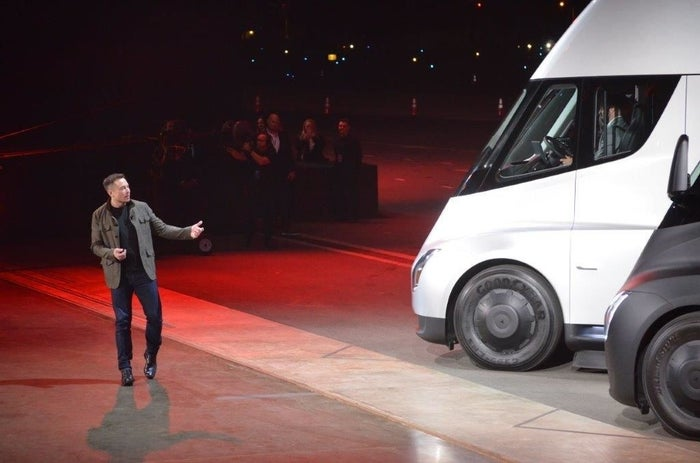 Tesla CEO Elon Musk unveils the new electric semi truck in 2017.