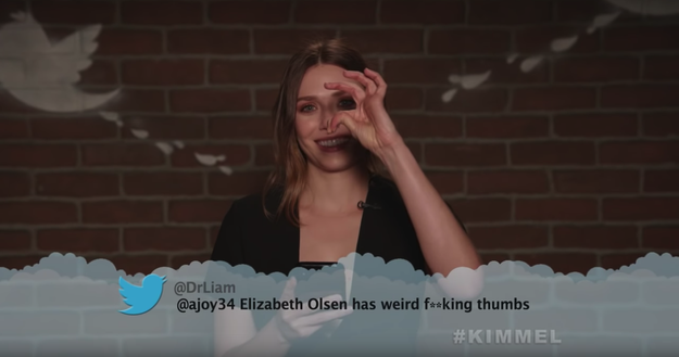 Here's Elizabeth Olsen, aka Scarlet Witch, showing off her weird fucking thumbs.