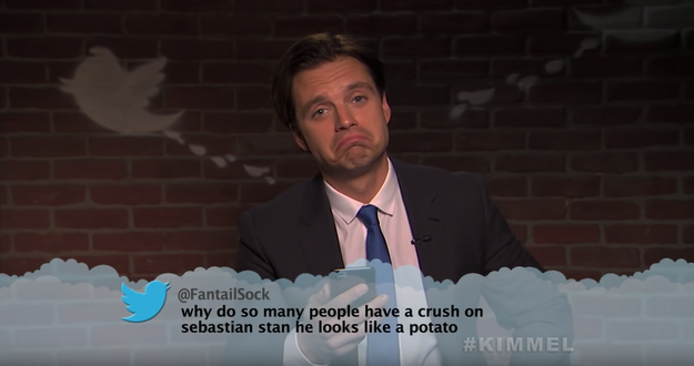 Here's Sebastian Stan, aka Bucky Barnes, finding out that he looks like a potato.